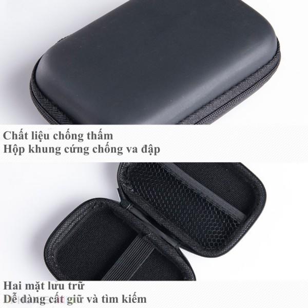 Hộp túi phụ kiện công nghệ khung cứng chống sốc đựng ổ cứng di động, pin sạc dự phòng, bộ sạc, tai nghe, chất liệu Vải chống thấm, loại Túi đựng phụ kiện