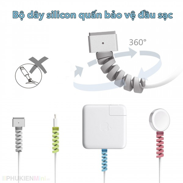 Bộ 4 dây lò xo dẻo xoắn quấn bảo vệ dây cáp sạc điện thoại, máy tính khỏi nứt bể, loại Nút bảo vệ đầu sạc