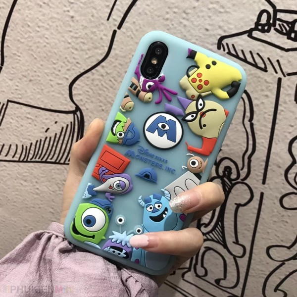 Ốp lưng silicon siêu dẻo, in nổi 3D hoạt hình loại tốt cho iPhone, chất liệu Silicone, loại Ốp lưng
