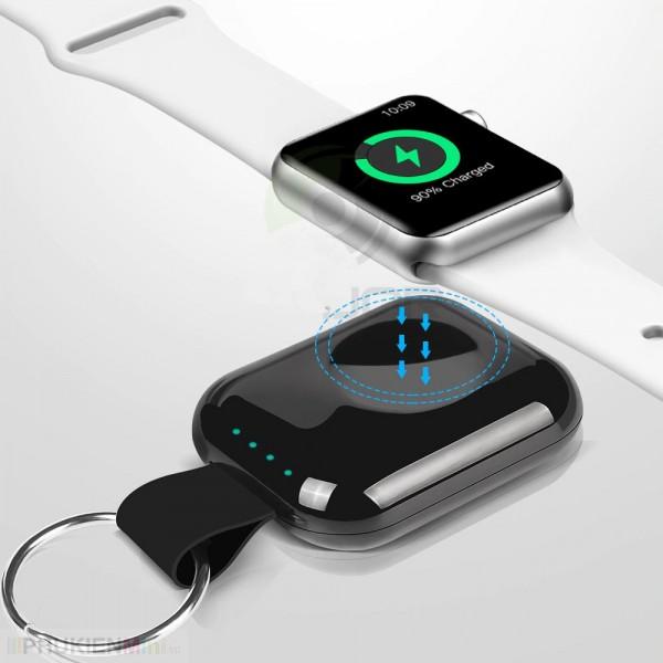 Pin sạc dự phòng không dây mini, mặt hít nam châm cho Apple Watch series 1/2/3/4 dung lượng 700mAh, có kèm móc khoá, loại Pin dự phòng đầu vào Micro USB, dung lượng 700 mAh