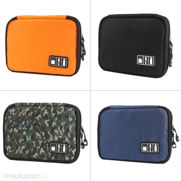Hộp túi đa năng 2 mặt chia nhiều ngăn đựng phụ kiện công nghệ cáp sạc, tai nghe, sạc dự phòng nhiều màu sắc, chất liệu Nhựa, Vải, loại Túi đựng phụ kiện