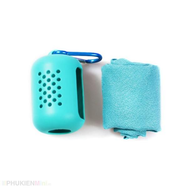 Khăn mini lau khô siêu nhanh nhét túi silicon gắn móc khoá tiện dụng, khăn lau đa năng tập gym thể thao, dã ngoại , kiểu Màu trơn, loại Khăn lau