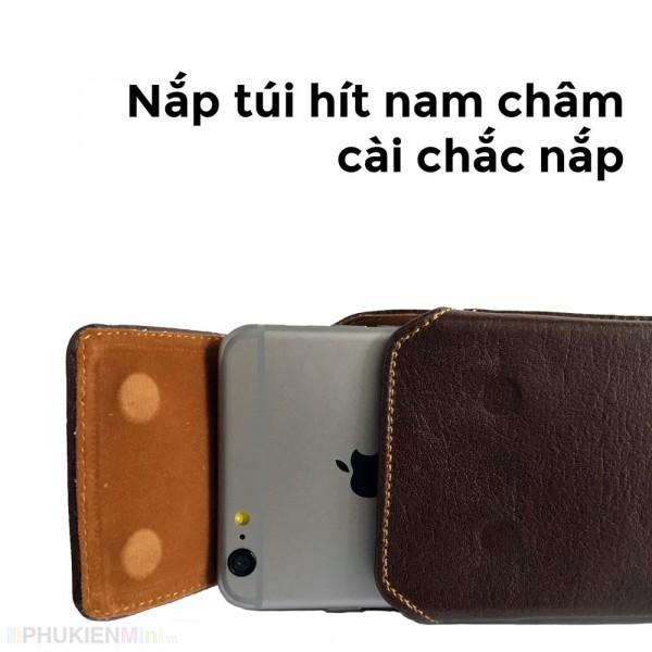 Bao da túi đeo hông thắt lưng loại đứng cho điện thoại 5 inch, 5.2 inch, 5.5 inch, 6 inch, 6.5 inch màu nâu và đen, chất liệu Da PU, loại Túi đeo hông