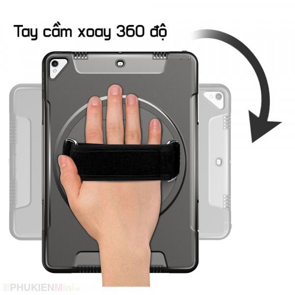 Ốp chống sốc có mâm xoay 360 cầm tay kèm chân chống, dây đeo vai phù hợp sử dụng đặt bàn nhà hàng, nhà xưởng, công trình cho iPad, kiểu Màu trơn, chất liệu Nhựa PC cứng, Silicone, loại Ốp lưng