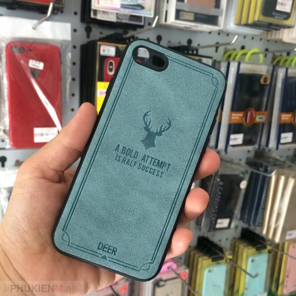 Ốp lưng da vintage hình hươu in nổi cho iPhone, kiểu Hình ảnh, chất liệu Da PU, Nhựa, loại Ốp lưng