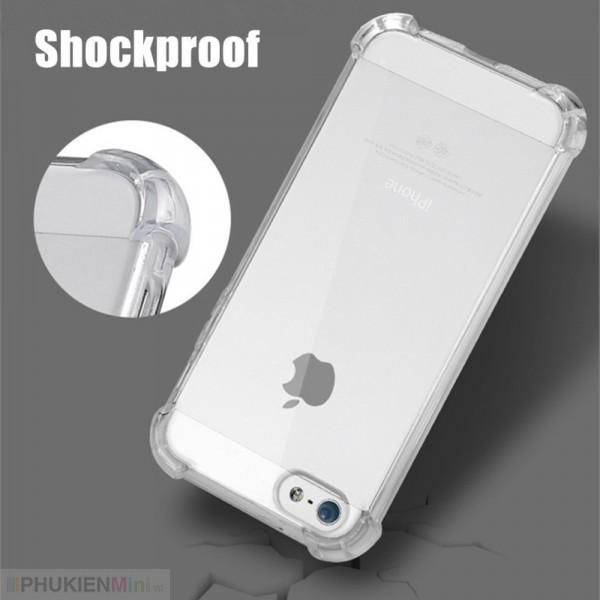Ốp lưng chống sốc gờ cao 4 góc màu trong cho iPhone, kiểu Màu trơn, chất liệu TPU dẻo, loại Ốp lưng