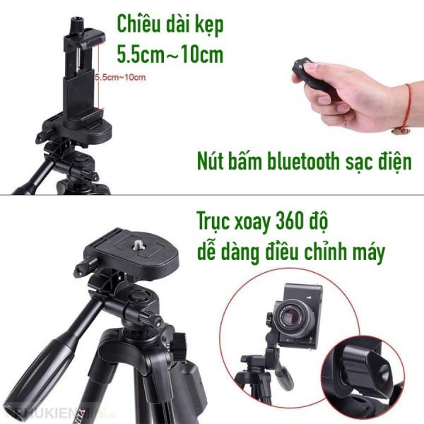 Giá đỡ tripod 3 chân Yunteng kèm kẹp điện thoại đinh ốc xoay ngang dọc, có nút bấm bluetooth sạc pin, loại Tripod