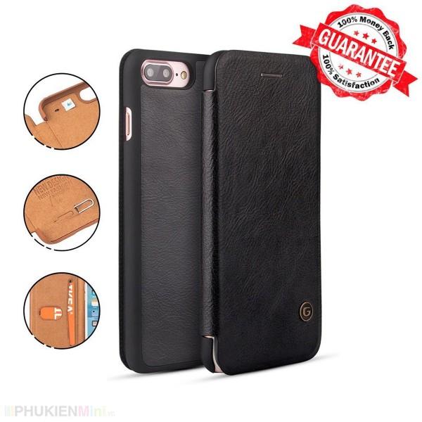 Bao da G-Case chính hãng có ngăn thẻ cho iPhone, kiểu Màu trơn, chất liệu Da PU, Nhựa, loại Bao da