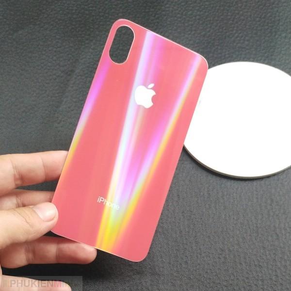 Kính cường lực màu cực quang dán mặt lưng (back) cho iPhone, loại Kính Cường lực, độ cứng 9H, mỏng 0.2 mm