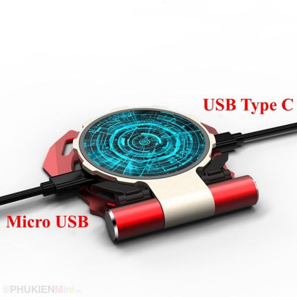 Đế sạc không dây wireless charger kiêm đế dựng có 2 cổng vào Micro USB và USB-C, loại Sạc du lịch