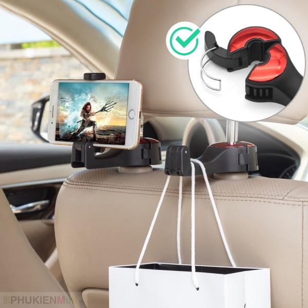 Giá móc treo đa năng kiêm kẹp đỡ điện thoại cài tựa đầu sau ghế ô tô, xe hơi thiết kế mới chốt cài kim loại chắc chắn nhiều nấc, móc xoay 360 độ chịu tải 5kg, chất liệu Nhựa, loại Túi treo sau ghế xe hơi