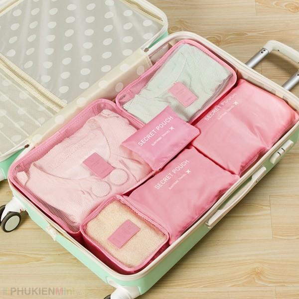 Bộ túi du lịch combo 6 món để vali sắp xếp quần áo, phụ kiện gọn gàng ngăn nắp , chất liệu Vải nylon, loại Túi đựng phụ kiện