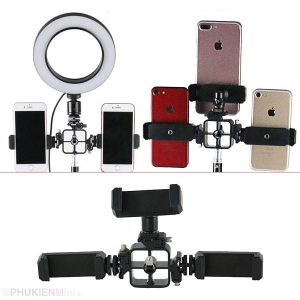 Phụ kiện giá đỡ, khung trụ gắn đến 3 điện thoại lên tripod, hỗ trợ livestream chuyên nghiệp nhiều máy cùng lúc, chất liệu Nhựa, loại Kẹp, Tripod