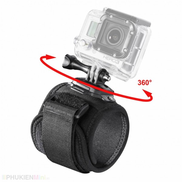 Dây đeo cánh tay, cổ tay xoay 360 độ kèm mount và đinh ốc vặn cho camera hành trình Gopro, SJCAM, GitUp, Eken, Xiaomi Yi, chất liệu Nhựa, loại Kẹp