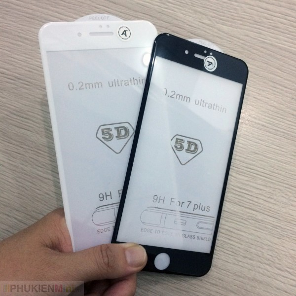 Dán cường lực 6D siêu mỏng full màn hình cho iPhone, loại Kính Cường lực, độ cứng 9H, mỏng 0.2 mm