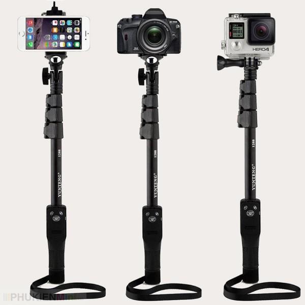 Gậy selfie chụp hình tự sướng có remote bấm bluetooth và đầu kẹp điện thoại, kéo dài hơn 1 mét, thân nhôm đen cực chắc, chất liệu Hợp kim, Nhựa, loại Monopod