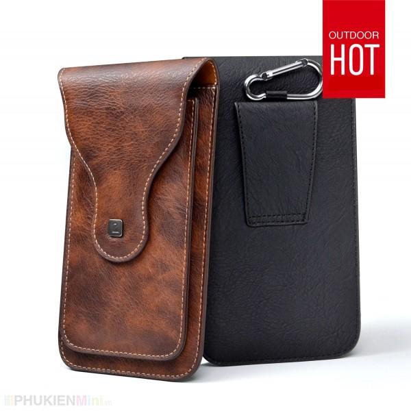Túi Puloka 2 ngăn đeo hông thắt lưng loại đứng cho điện thoại nhiều size 5 inch, 5.2 inch, 5.5 inch, 6 inch, 6.3 inch, 6.5 inch 2 màu nâu và đen, chất liệu Da PU, loại Túi đeo hông