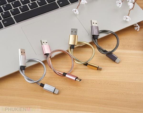 Cáp sạc USB-C (Type C) mạ kẽm loại ngắn 20cm, loại Cáp USB-C