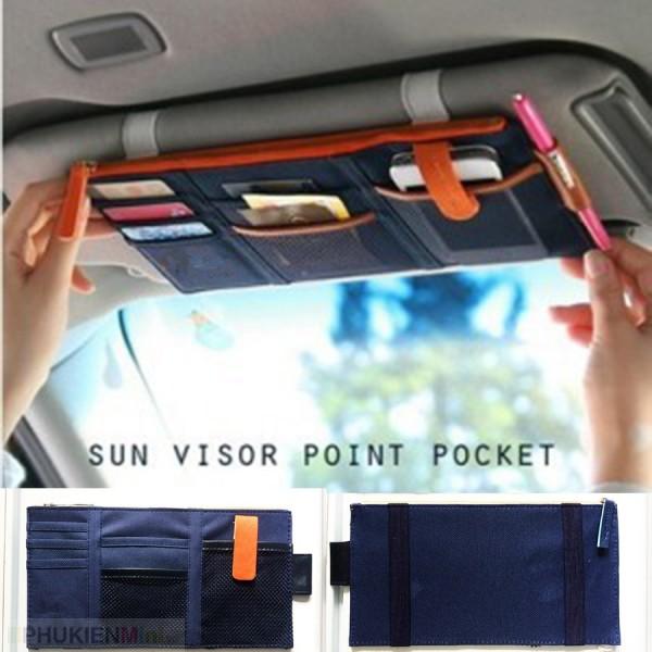 Bóp ví đựng giấy tờ ô tô, xe hơi treo tấm che nắng kính lái, chất liệu Da PU, Vải, loại Túi treo tấm che nắng kính lái