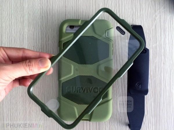 Ốp Survivor 360 chống sốc chuyên dụng cho iPhone, kiểu Màu trơn, chất liệu Nhựa PC cứng, Silicone, loại Ốp lưng