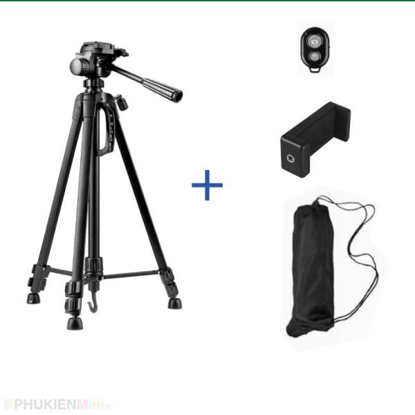Giá đỡ tripod 3 chân cao cấp loại lớn cao 1.4m chịu tải 3kg hỗ trợ livestream, chụp hình, quay video, có quai cầm tay và móc treo, tặng kèm đầu kẹp điện thoại và remote bluetooth, loại Tripod