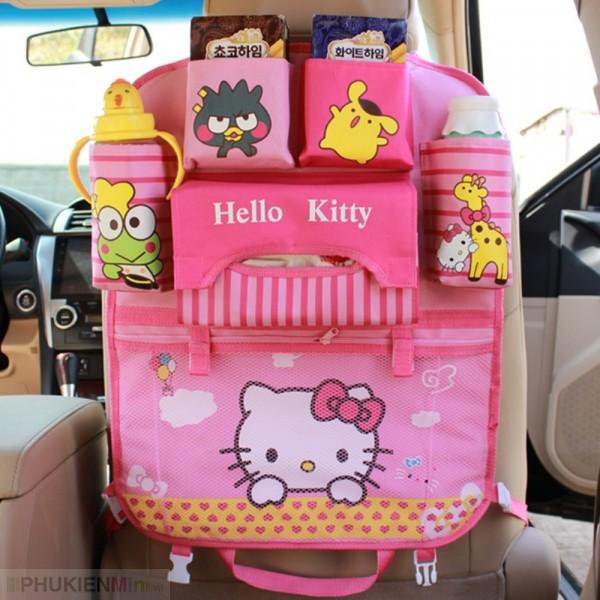 Túi treo đồ nhiều ngăn móc sau ghế ô tô, xe hơi kiểu mẫu hoạt hình dễ thương cho trẻ em, chất liệu Vải, loại Túi treo sau ghế xe hơi