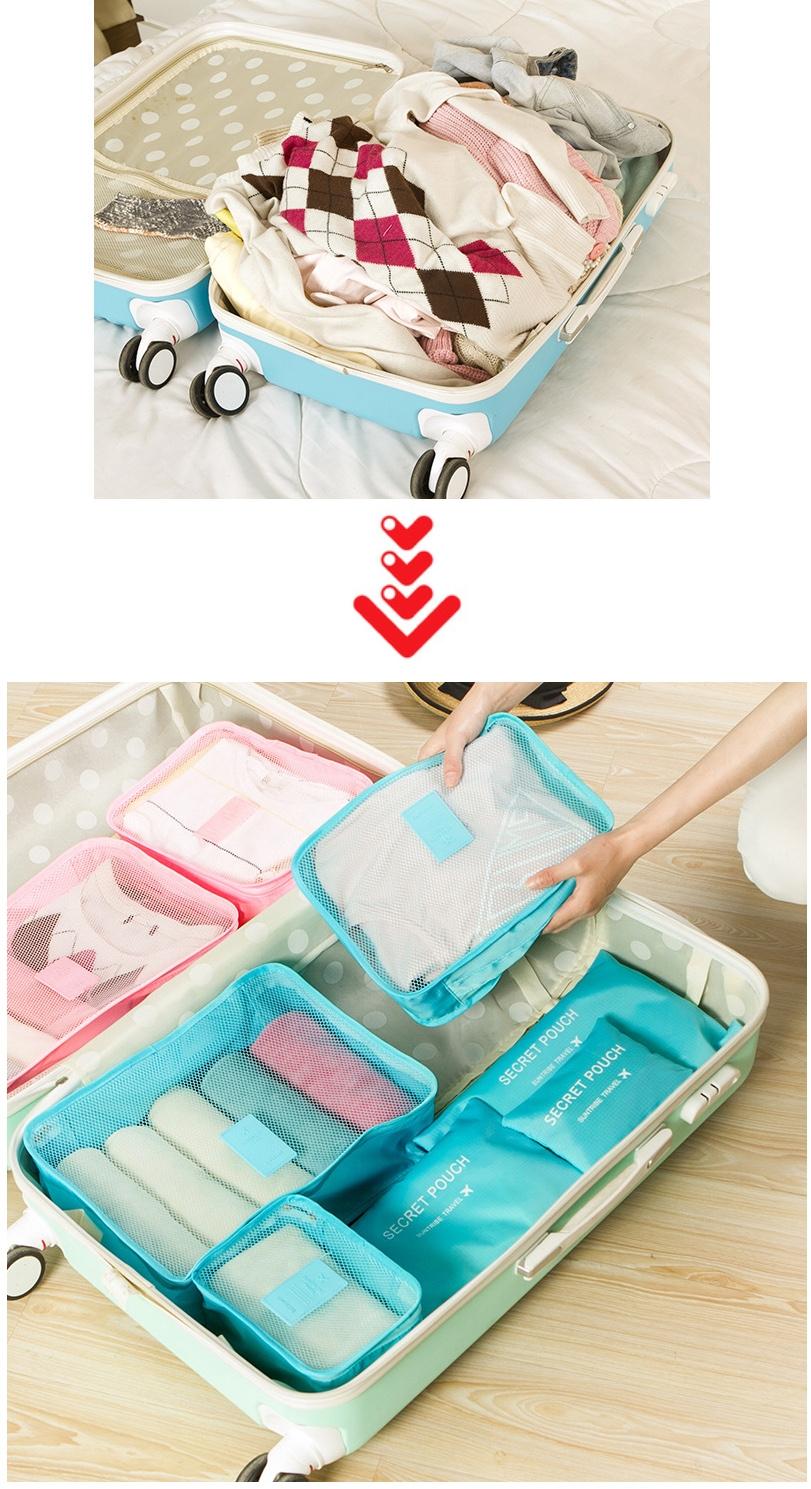 bộ túi du lịch 6 món phân loại quần áo, vật dụng để vali