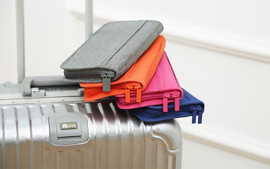 bóp ví đựng passport du lịch nhiều ngăn đựng thẻ tiền, điện thoại đa năng có khoá kéo đôi chắc chắn