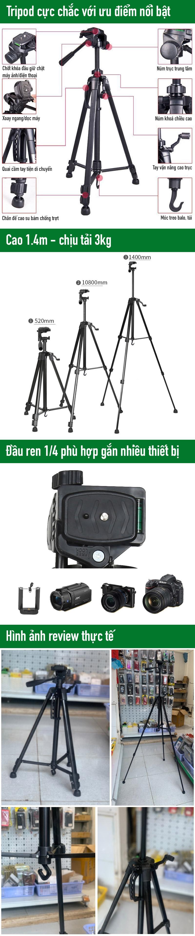tripod giá đỡ 3 chân điện thoại livestream, chụp hình quay video - phukienmini.vn
