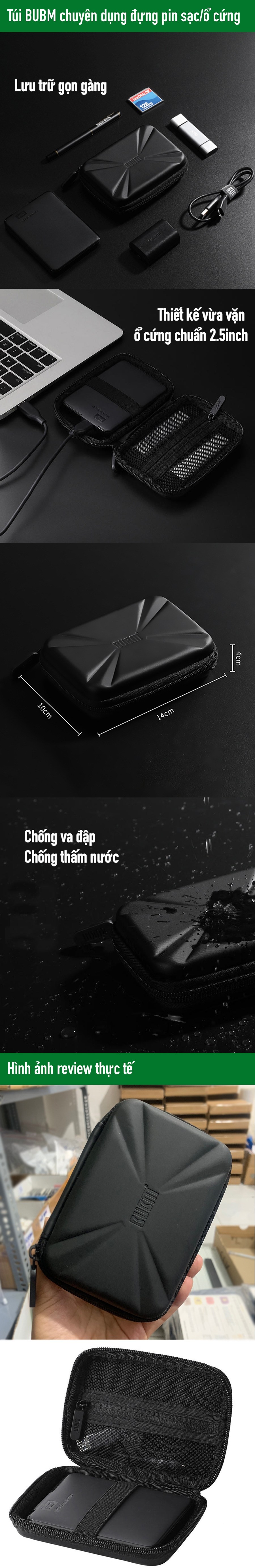 hộp túi phụ kiện công nghệ chuyên nghiệp BUBM hàng cao cấp chính hãng - phukienmini.vn