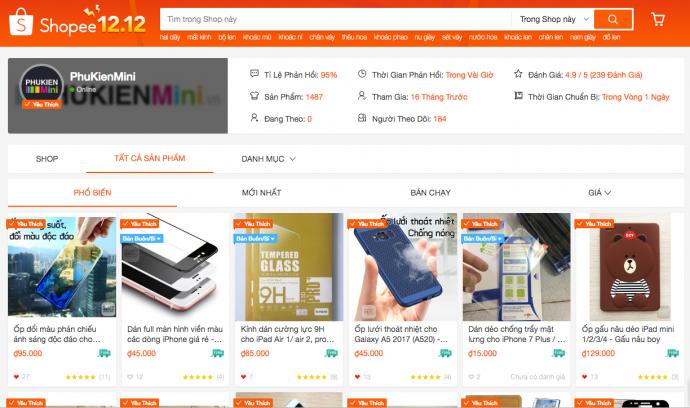 PhuKienMini trở thành shop yêu thích trên sàn thương mại điện tử Shopee