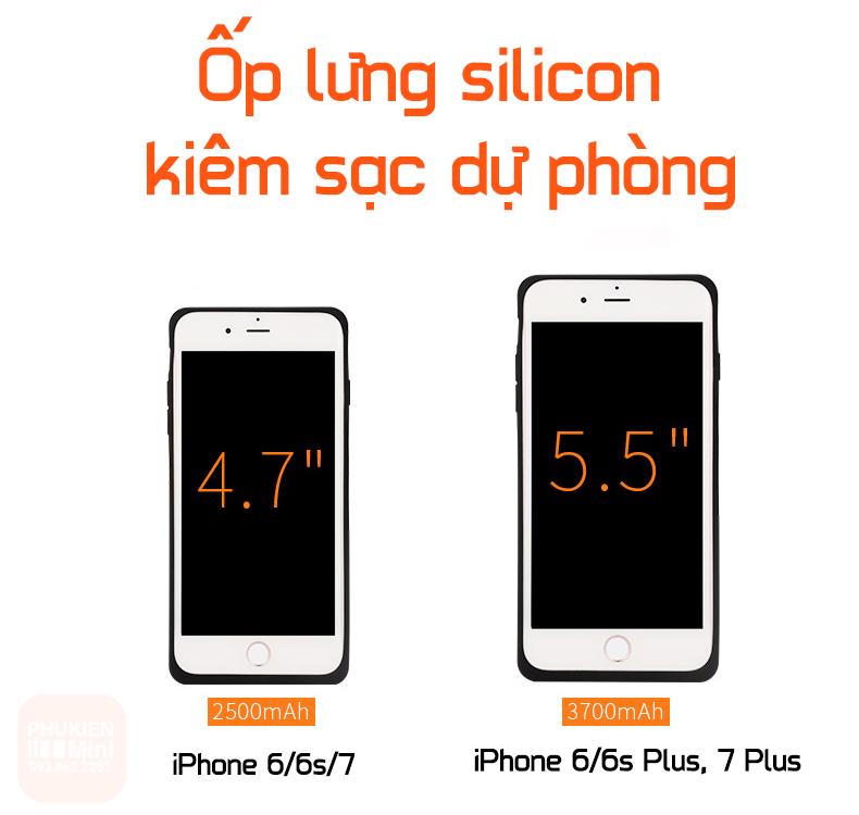 Ốp lưng dẻo silicon kiêm pin sạc dự phòng cho iPhone 6/6s, 6 Plus, iPhone 7, 7 Plus