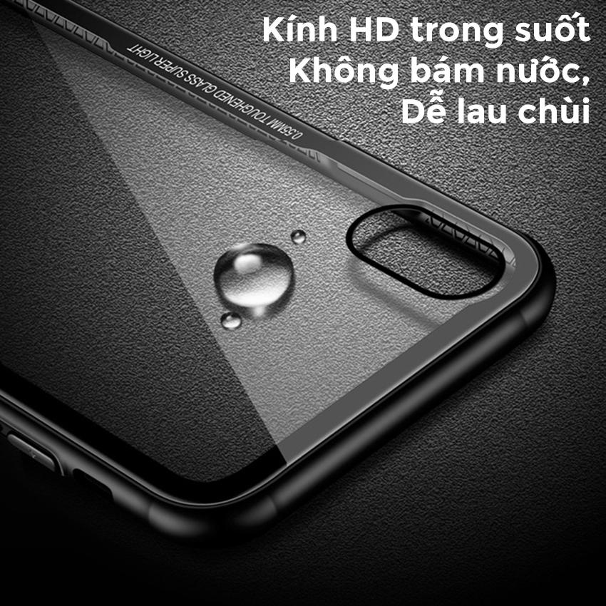Ốp lưng Cafele mặt kính cường lực trong suốt không ố cho iPhone X, 7 Plus, 8 Plus, 6s Plus